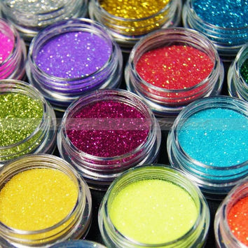 Nail Art 18 Pcs Colors Shinny Glitter UV Acrylic Powder Dust Decoration Kit = 5658955393