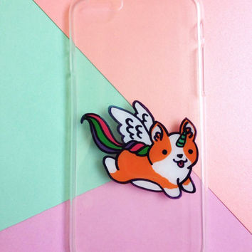 Hand painted Unicorn Corgi phone case, iPhone 7 case, iPhone 6 case, iPhone 6s case, Samsung Galaxy S7 Edge Case, Samsung Galaxy S8 Case
