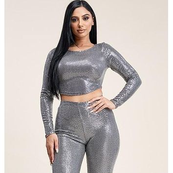 Sparkle Up Sequin Metallic Cropped Top