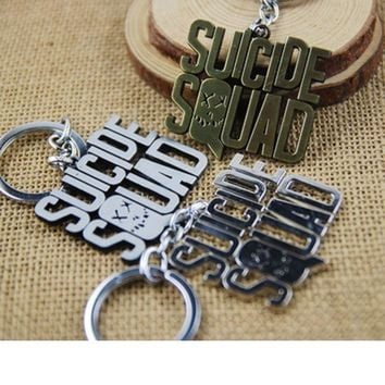 Movie Series Suicide Squad Letter Metal Pendant Clown Halle Queen Keychain Chaveiro Llavero Keyring Toy Figure