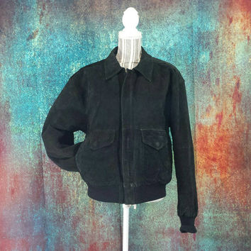 80s Suede Bomber Jacket Vintage Flight Aviator Pilots Coat Mens Black Worn Distressed Leather Retro 90s Grunge Size Small Lined Baggy Preppy