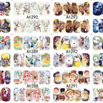 12 PACK/ LOT WATER DECAL NAIL ART NAIL STICKER SLIDER TATTOO FULL COVER DEER DOG RABBIT PANDA POODLE A1285-1296