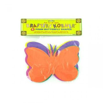 6 Pack Foam Butterfly Craft Shapes