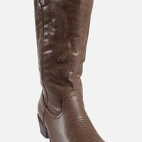 89742-11-3 Embroidered Cowboy Boots Women Boots BROWN Bare Feet Shoes