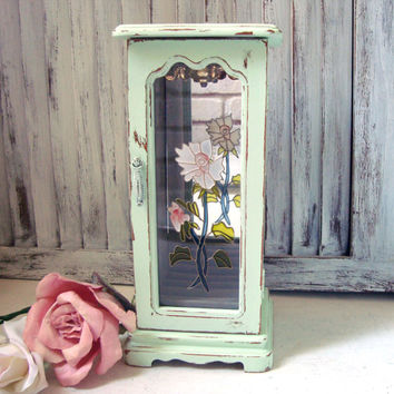 Mint Green Jewelry Box, Vintage Wooden Jewelry Box with Flower Glass Door, Shabby Chic Light Green Distressed Jewelry Holder, Gift Ideas
