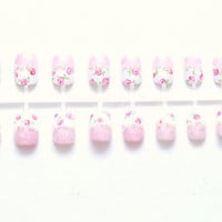 Japanese nail art fake nails pink floral sweet lolita by Aya1gou