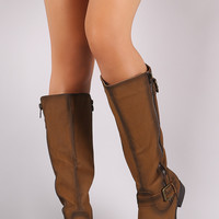 Buckled Zipper Trim Riding Knee High Boots