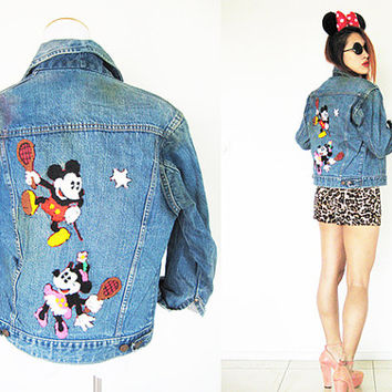 Vintage 70's 80's Mickey Mouse Minnie disney's jeans denim embroidered blue biker jacket