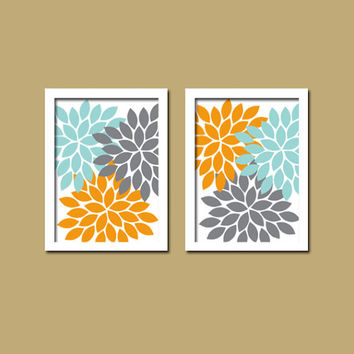 Bold Colorful Orange Grey Aqua Floral Flower Burst Set of 2 Prints Wall Decor Abstract Art Bedroom Bathroom Nursery Picture Crib