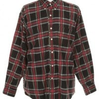 Black & Red Tartan Cord Shirt - Vintage clothing from Rokit -