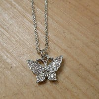 Silver Rhinestone Butterfly Necklace | Candy's Cottage
