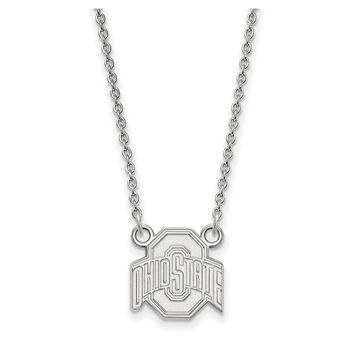 NCAA 10k White Gold Ohio State Small Logo Pendant Necklace