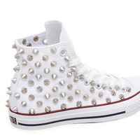 Studded Converse, Converse High Top with Silver Cone Rivet Studs by CUSTOMDUO on ETSY