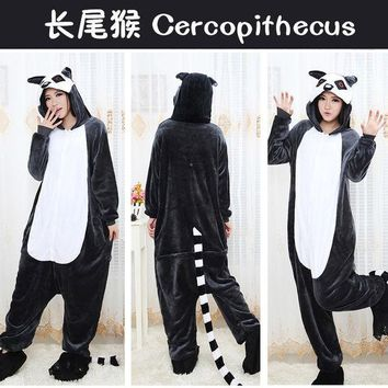 PEAPUG3 Cartoons Cercopithecus Animal Couple Winter Unicorn Home Sleepwear Halloween Costume [9220985988]