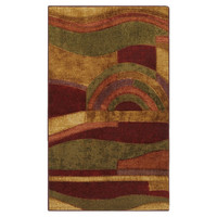 1'8 x 2'10 Abstract Picasso Wine Rug in Red Green Yellow Orange