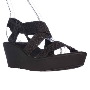 STEVEN Steve Madden Woven Cross Strap Wedge Sandals - Black Metallic