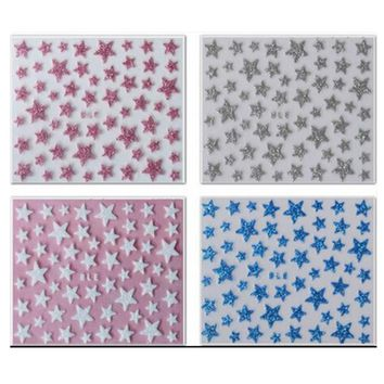 1x NEW Glitter Shinning Star Designs Nail Decals 3d Nail Art Stickers Manicure Pedicure Salon Express Foils Styling Tools NC132