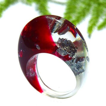 Resin Ring, Statement Ring, Resin Jewelry, Silver Leaf Rings, Bold, Unique and Modern Rings, 2016 Rings Trending, ResinHeavenUSA