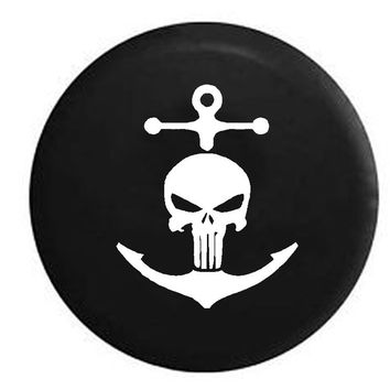 Punisher Skull Navy Military Nautical Anchor Pirate Life , Jeep, RV, Camper, Spare, Tire, Cover