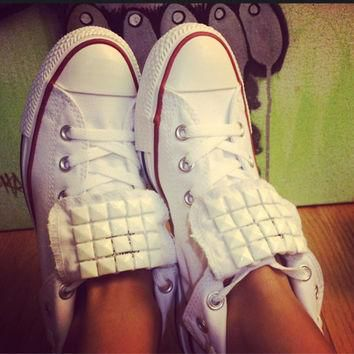 Custom White Studded Converse All Star - White Out Edition Chuck Taylors - ALL SIZES &