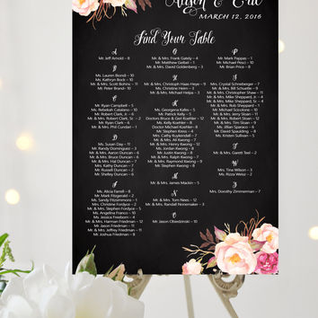 Custom Table Seating Chart - Alphabetical - Large Poster - Romantic Blooms - Pretty Script on Vintage Chalkboard - I Create and You Print