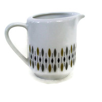 Mid Century Atomic Winterling Creamer, Bavaria Germany, White Olive Grey Black
