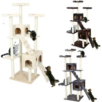 Big Cat Furniture Tree Tower Condo Scratch Post With Ladder Pet House 182cm