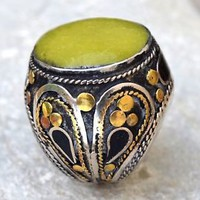 Green Jade Onyx Stone Ring Afghan Kuchi Tribal Carved Ethnic Jewelry Gypsy Boho