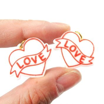 Love Banner Tattoo Heart Shaped Laser Cut Dangle Clip On Earrings in White