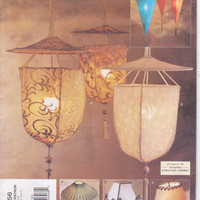 Pattern for creating 4 hanging lamps and 4 table lampshades designed by Susanna Stratton Norris for Vogue Patterns for Living 2056 UNCUT
