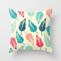 Leave Me Multi (Aqua Red) Throw Pillow by Beth Thompson