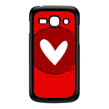 White Heart on Red Black Hard Plastic Case for Galaxy Ace 3 by UltraCases