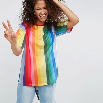 ASOS T-Shirt in Boyfriend Fit and Rainbow Stripe at asos.com