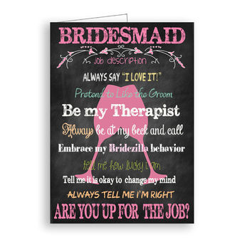 Will You Be My Bridesmaid  Bridesmaid Job Description Printable