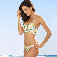 Sexy yellow pineapple print halter two piece bikini