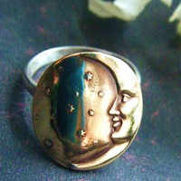Crescent Moon Ring Romantic Tattoo Steampunk by PhenomenaJewelry