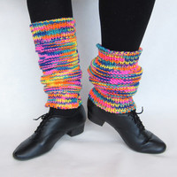 Knitted leggings Multicolored leggings dance sport Spring Leg Warmers rainbow colors Fashion Women Girl girlfriend sister gift
