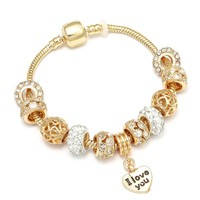 Luxury Gold Color Romantic I Love YOU Charm Bracelets with Gold Crystal Pandora Bracelets for Women Girls Lovers Jewelry Gift