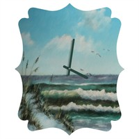 Rosie Brown Beach Dunes Quatrefoil Clock