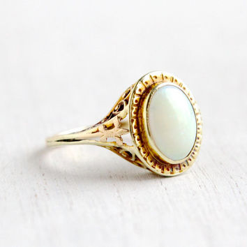 Antique 14K Yellow Gold Large Opal Filigree Ring- Vintage Size 6 Early 1900s Edwardian Art Deco Fine Jewelry