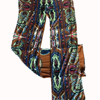 Amore in Lahore Silk Jersey Pants - Brown, Magenta, Celery Green Print in 100% Silk Knit for Travel, Pajamas or Loungewear