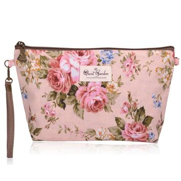 Vintage Floral Printed Cosmetic Bag Women Makeup Bags Female Zipper Cosmetics Bag Portable Travel Durable Multi function Pouch