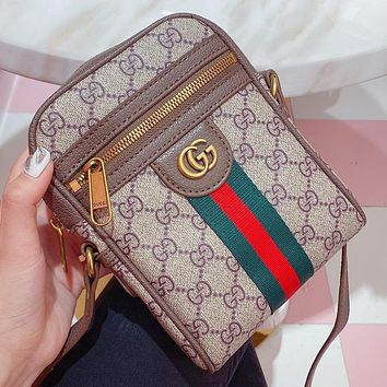 GUCCI new women's stitching color printed letters mini mobile phone bag diagonal bag