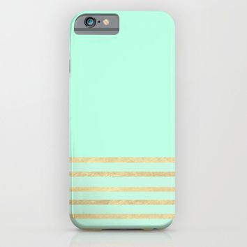 Mint and Gold stripes iPhone & iPod Case by Xiari | Society6