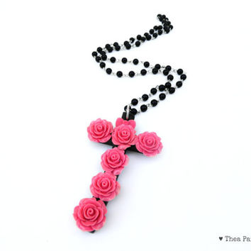 Pink Pastel Goth Rose Rosary Necklace/ Cross Necklace