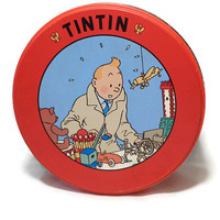 Tin Tin Cookie Tin . Round Red Keepsake Box . Trinket Box . TinTin Herge .