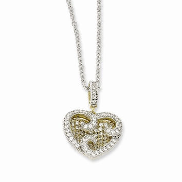 Sterling Silver & Vermeil CZ Heart Pendant Necklace
