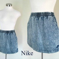 Nike Challenge Court Denim Skirt / Vintage 1980s Nike Acid Washed Mini