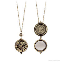 Golden Lotus Mirrored Locket Necklace