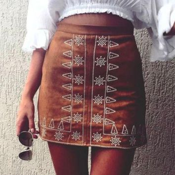 Fashion Suede Front Embroidery Package Hip Skirt
